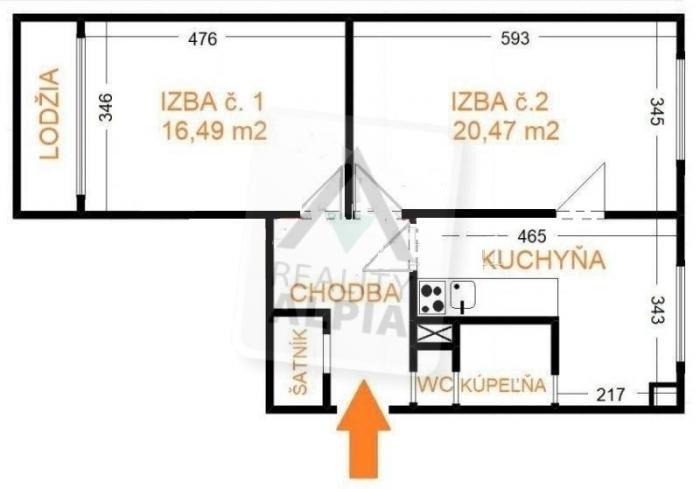 Reality 2-izbový byt byt, Sliač
