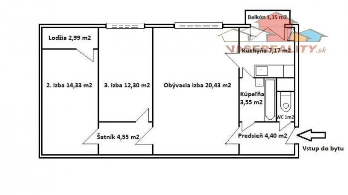 Reality Na predaj 3-izbový byt s dvoma nepriechodnými izbami, lodžiou a balkónom, vyhľadávaná lokalit