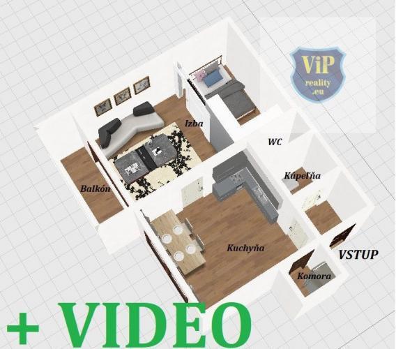 Reality VIDEO.Byt 1+1 39 m2 s balkónom,čiastočne prerobený- Banská Bystrica