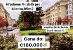 Reality Hľadáme pre nášho klienta: 4-izbový byt, 100 m2, Žilina