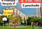 Reality PREDAJ: 3-izbový byt s loggiou, Prievidza - Necpaly, 70 m2, 70.900,- €