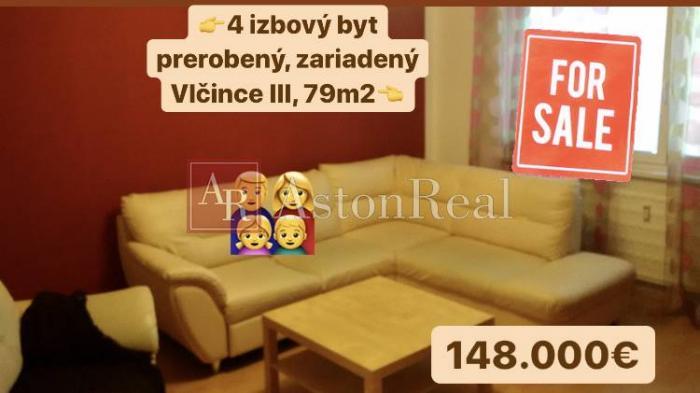 Reality Predaj:4izbový zariadený byt Žilina- Vlčince III, 79m2 +balkón+pivnica