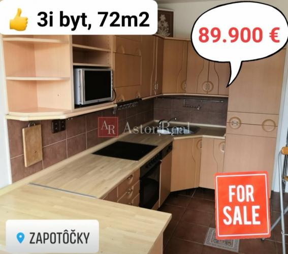 Reality Zrekonštruovaný 3-izbový byt s loggiou, 72 m2 + 2 pivnice, Zapotôčky