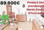 Reality Rezervovaný 3 izb. byt 67 m2 v Martine Centre prerobený + Balkón