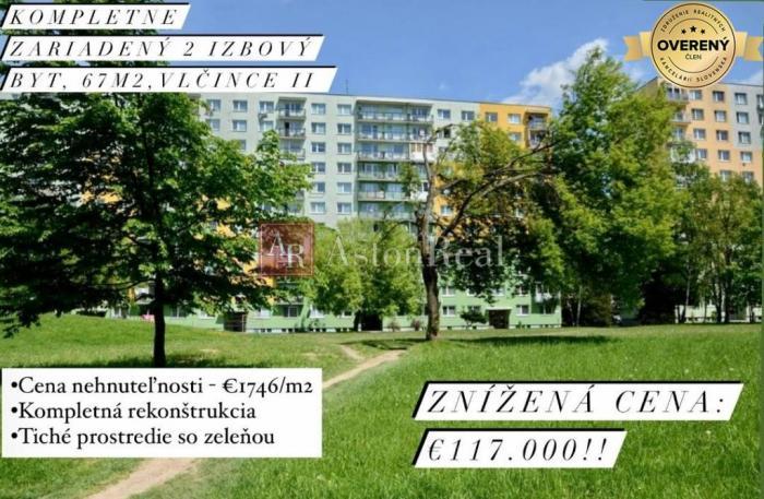Reality TOP: 2 izbový byt na Vlčincoch II, 67m2, kompletná rekonštrukcia, ZA