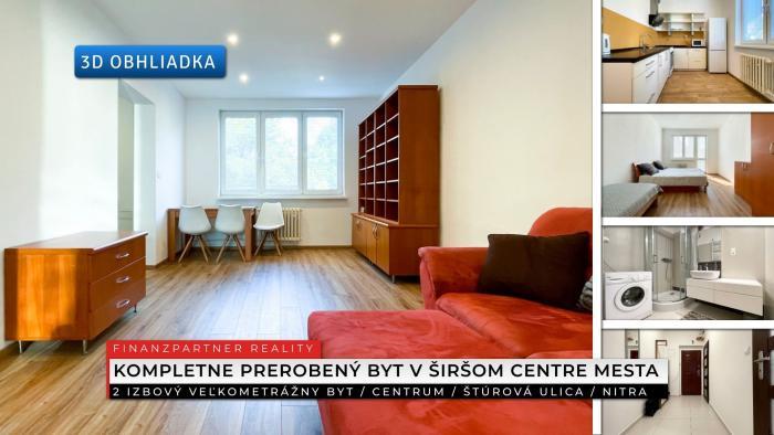 Reality 2 izbový zrekonštruovaný byt, Štúrová, Nitra + 3D
