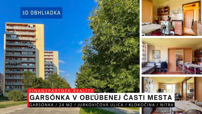 Reality Garsónka 24 m2, Jurkovičová, Klokočina, Nitra + 3D