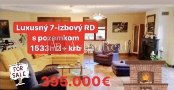 Reality Luxusný 7.izbový RD, s poz.1533 m2 Krbom v Martine