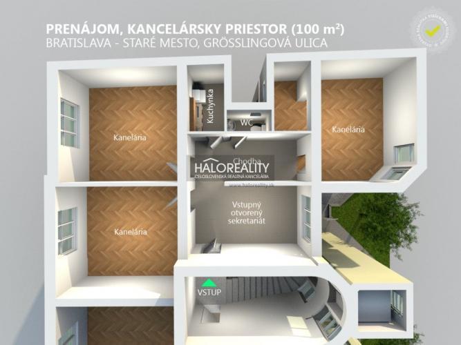Reality Prenájom, kancelársky priestor Bratislava Staré Mesto, Grösslingová ul. (100 m2)
