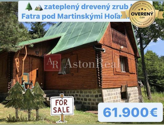 Reality Predaj:drevený zrub pod Martinskými Hoľami v Malej Fatre, 55m2